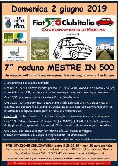 Manifesto della 7° raduno di 500 a Mestre